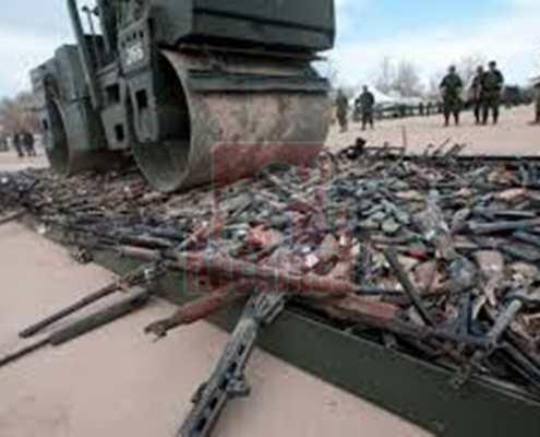 armas decomisadas aplastadas